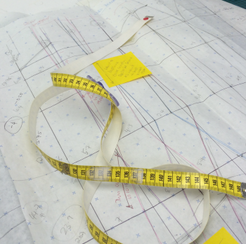 A corset pattern being made