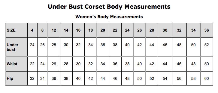 Underbust size chart