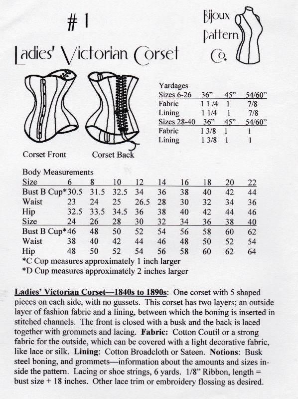 bijoux corset pattern envelope