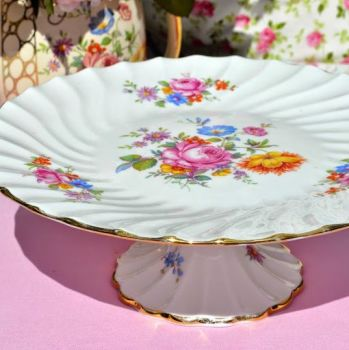 Crown Staffordshire Floral Pedestal Cake Stand c.1930s