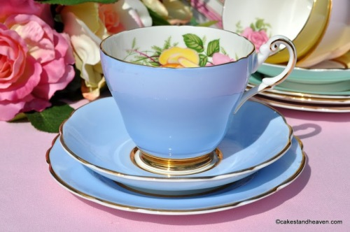 Harleigh Blue Vintage China Teacup Trio with Pink and Yellow Rose