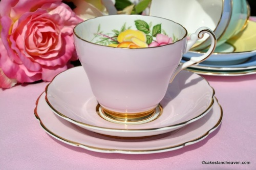 Harleigh Pink Vintage China Teacup Trio with Pink and Yellow Rose