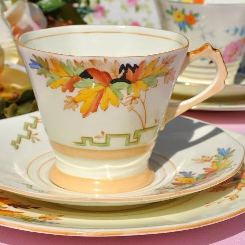 Tuscan Art Deco Buttercream Hand Painted Teacup Trio c.1936
