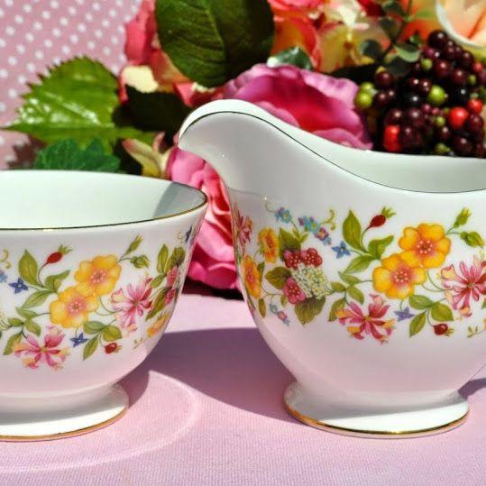 Colclough Hedgerow Vintage China Milk Jug and Sugar Bowl