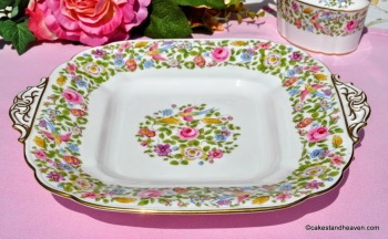 Royal Crown Derby Multi Colour Floral and Bird Cake Plate