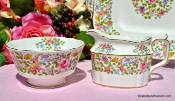 Royal Crown Derby Multi Colour Floral and Bird Milk Jug and Sugar Bowl