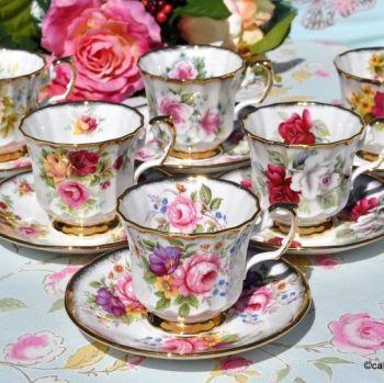 Elizabethan Fine Bone China Vintage Teacups and Saucers Set of Six