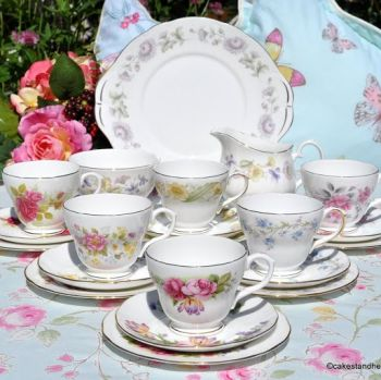 Duchess Eclectic English Bone China Vintage Tea Set with a Cake Plate