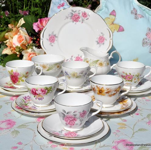 Duchess Summer Days English Bone China Vintage Tea Set with a Cake Plate