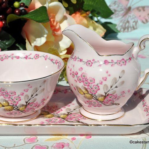 April Beauty Pink Vintage China Milk Jug, Sugar Bowl, Tray c.1947+