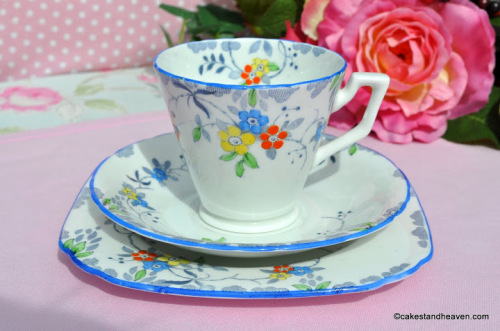 Sutherland Blue Rim Hand Painted Teacup Trio c.1936+