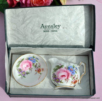 Aynsley Boxed Mini Floral Vintage  Bone China Milk Jug and Sugar Bowl Set