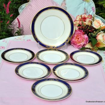 Royal Grafton Viceroy Cobalt Blue Overlaid With Gold 7 Piece Cake Plate Serving Set c.1970s
