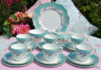 Wedgwood Buxton W4131 Duck Egg 21 Piece Pristine Vintage Bone China Tea Set  c.1950s