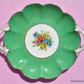 Crescent China by George Jones Hand Painted Green Floral Vintage China Biscuit Tray c.1940s