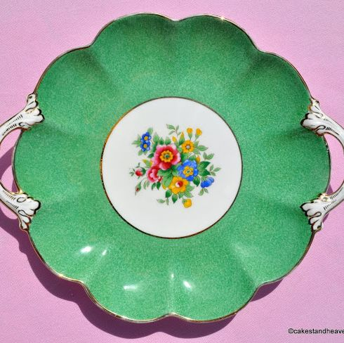 Crescent China Green Floral Vintage Biscuit Tray c.1940s