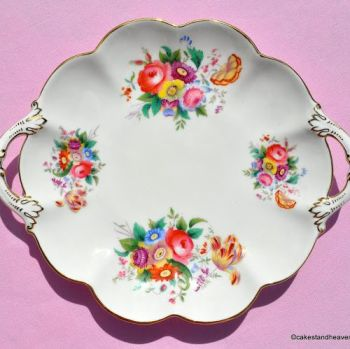 Crescent China by George Jones Hand Painted Floral Vintage China Biscuit Tray c.1940s