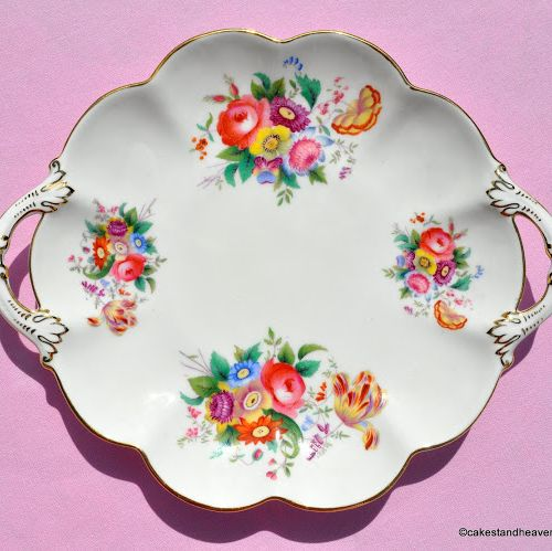 Crescent China Floral Vintage Biscuit Tray c.1940s