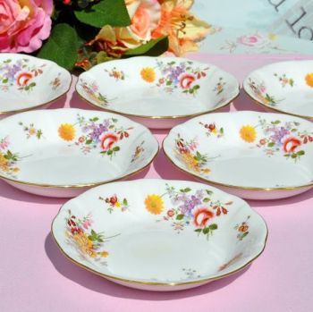 Royal Crown Derby Posies Bone China Oatmeal, Cereal, Dessert Dishes Set of Six c.1988