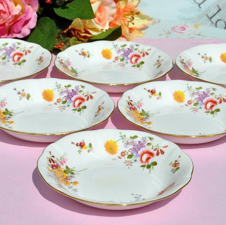 Set of Six Derby Posies Oatmeal Dishes c.1988