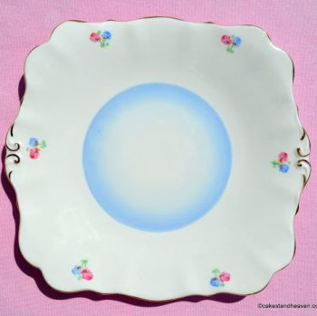 Bell China Blue Wash and Ditsy Flowers Vintage Bone China Cake Plate c.1940s
