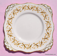 Tuscan 1842H Hand Painted Pink and Gold Ribbon Vintage China Cake Plate c.1947+
