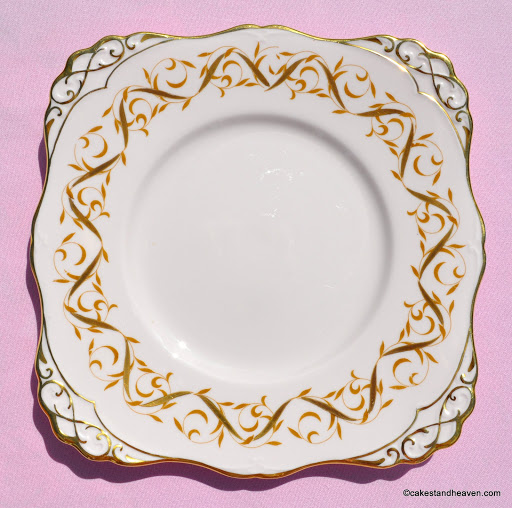 Tuscan 1842H Pink and Gold Vintage Cake Plate c.1947+