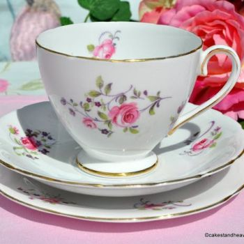 Collingwood Pretty Pink Roses Pattern Vintage Bone China Teacup Trio c.1940s