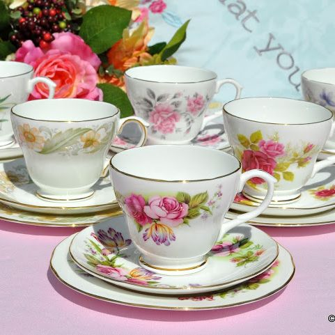 Duchess Mismatched China Teacup Trios x 6
