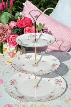 Adderley Fragrance Pink Rose Sprays Vintage Fine Bone China 3 Tier Cake Stand