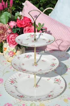 Adderley Fragrance Pink Rose Sprays Vintage Fine Bone China 3 Tier Cake Stand