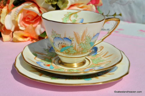 Royal Stafford Blue Poppy Teacup Trio c.1952