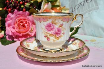 Royal Windsor Juliet Pink Rose Fluted Bone China Teacup Trio c.1960s