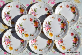 "Royal Crown Derby Posies 5"" Canape Plates x 8 In Pristine Condition"