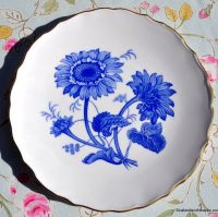 Spode Blue Sunflower 23.5cm Cake or Dessert Plate Made in England c.1960s