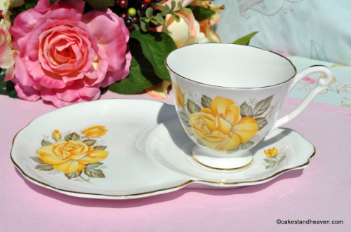 Queen Anne Yellow Rose Pattern Tennis Set c.1960s