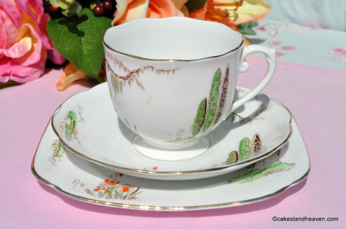 Roslyn China Cypress Tree Teacup Trio
