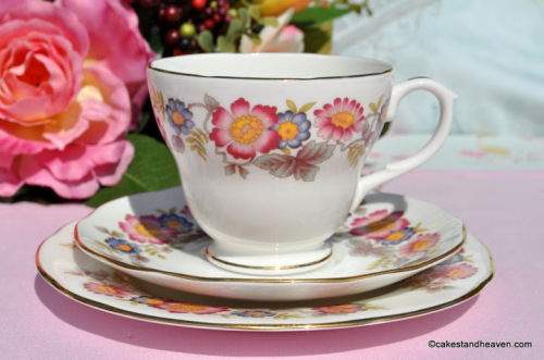 Duchess Pink and Blue Floral Teacup Trio