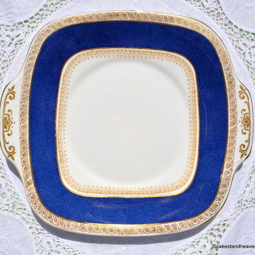Crown Staffordshire Blue and Gold Cake Plate c.1930s
