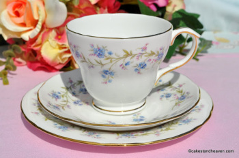 Duchess Tranquility Vintage Blue Forget-Me-Not Pattern Teacup Trio c.1950s