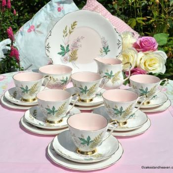 Royal Adderley Louise Pink Vintage Bone China Tea Service for Six c.1960s