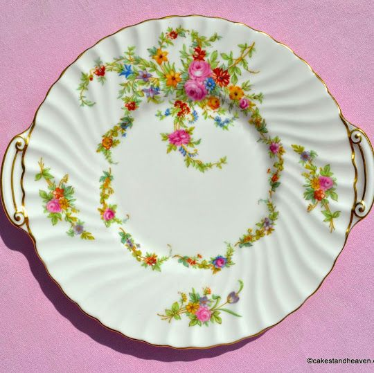 Minton Lorraine Vintage Bone China Earred Cake Plate