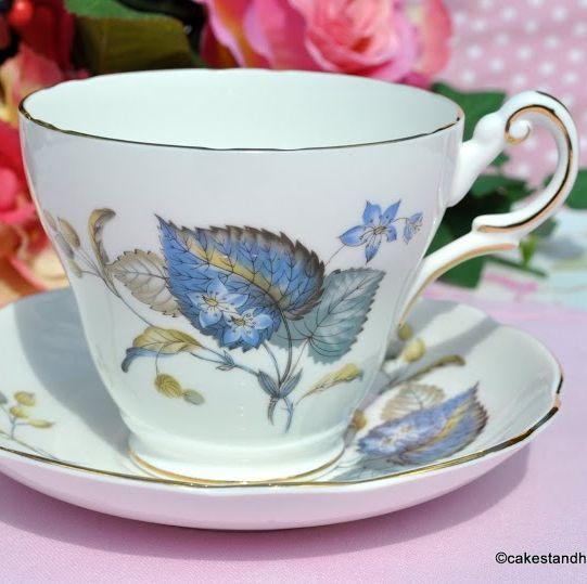 Regency Blue Leaf Breakfast Teacup and Saucer c.1950s