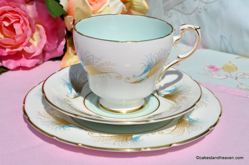Paragon Blue and Gold Feather Pattern Teacup Trio