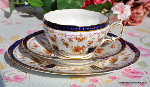 Antique Old Hall Blue Band and Floral Teacup Trio