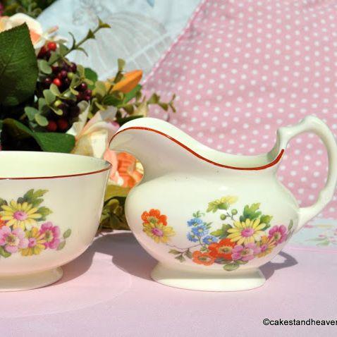 Tuscan Cream Floral Milk Jug and Sugar Bowl