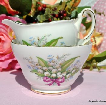 Regency Lily of the Valley Milk Jug and Sugar Bowl c.1950s