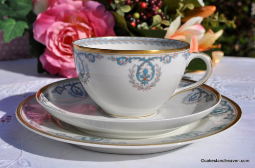 Limoges Turqoise and Gold Vintage Teacup Trio c.1930s