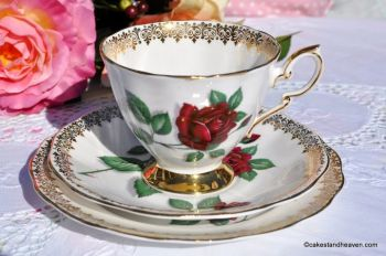 Royal Standard Red Velvet and Gold Filigree Tea Cup Trio