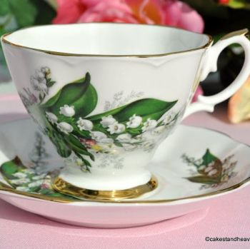 Royal Imperial Lily of the Valley Bone China Teacup & Saucer c.1960s